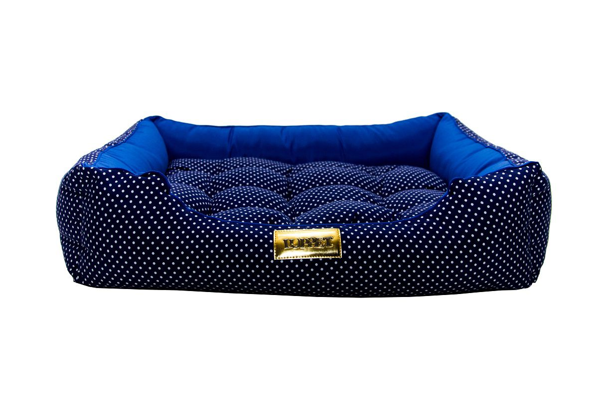 Cama Retangular para Cachorro ou Gato Luppet Luxo Azul Bolinhas