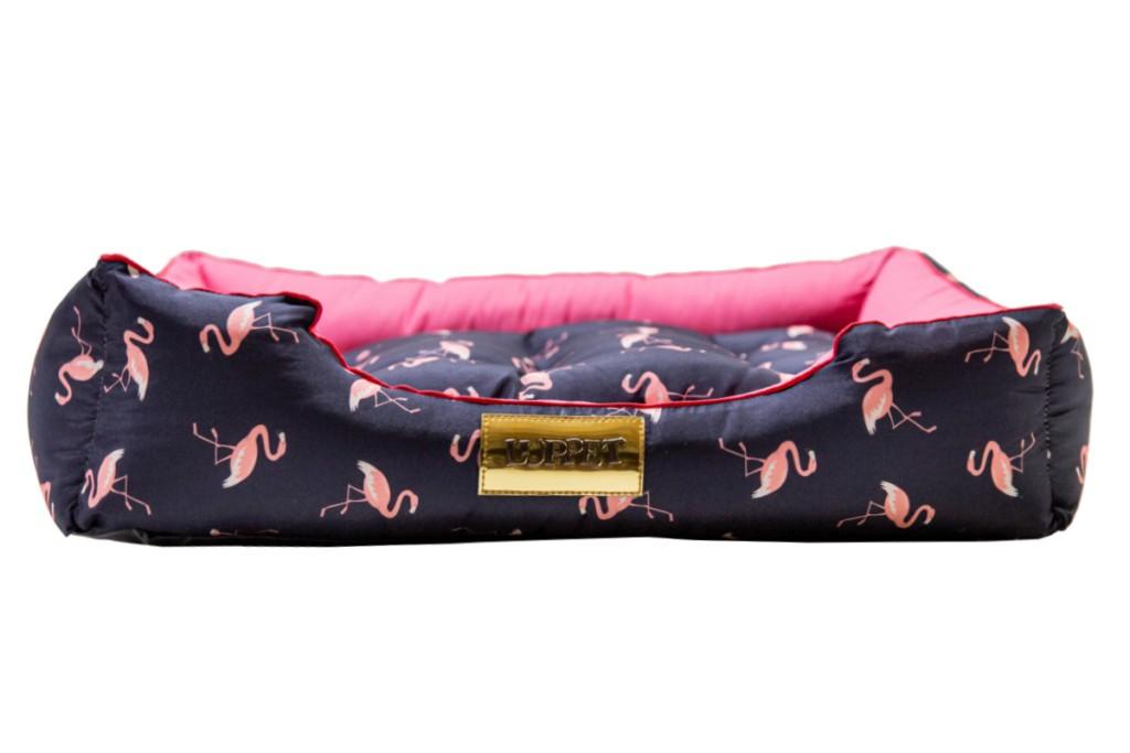 Cama Retangular para Cachorro ou Gato Luppet Luxo Azul Flamingo