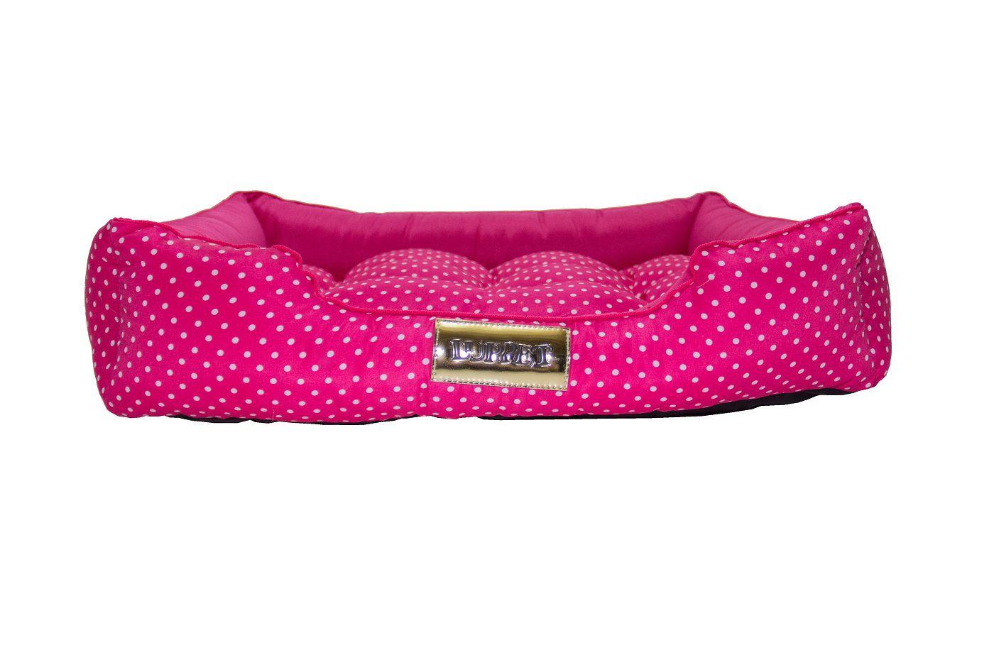 Cama Retangular para Cachorro ou Gato Luppet Luxo Rosa Bolinhas