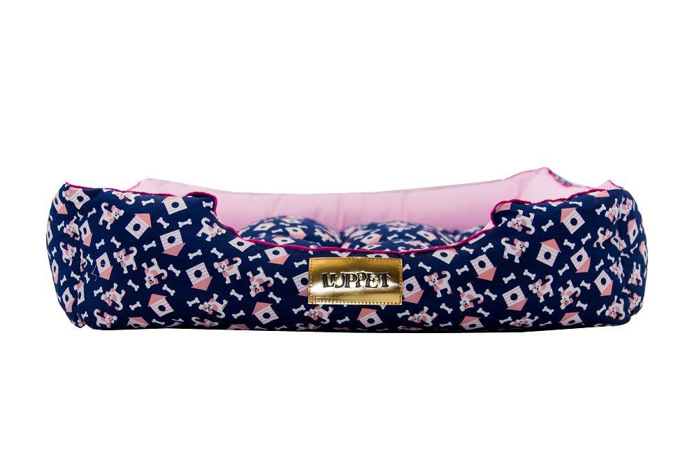 Cama Retangular para Cachorro ou Gato Luppet Luxo Rosa Casinha