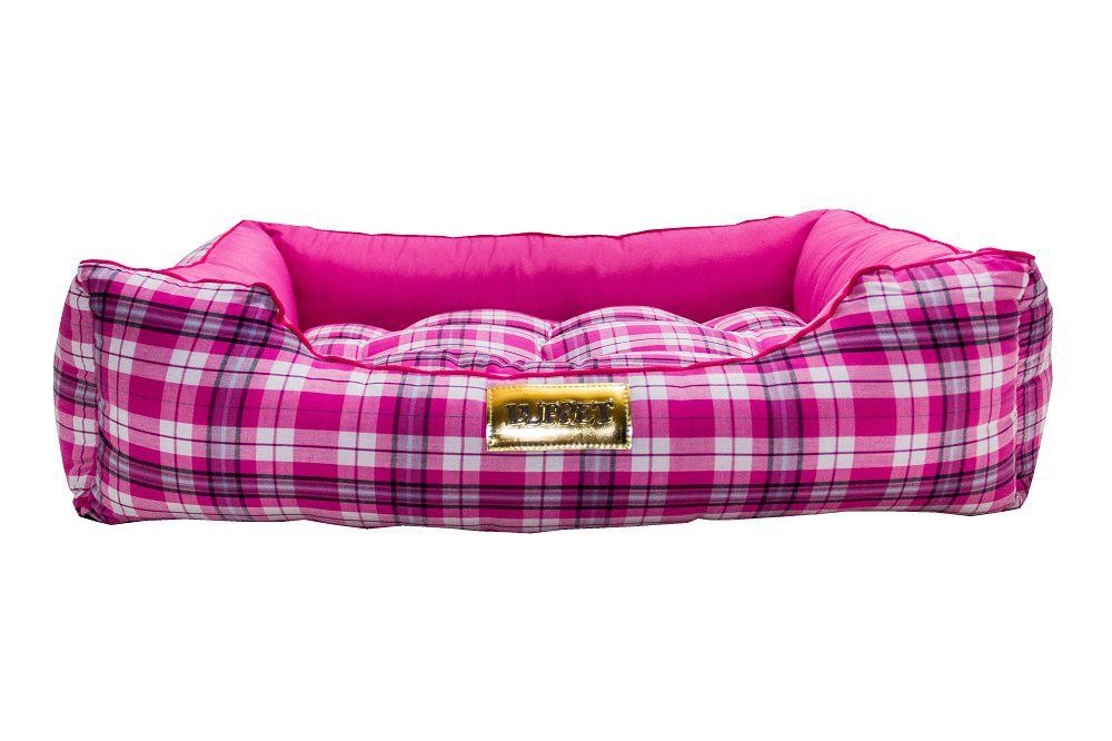 Cama Retangular para Cachorro ou Gato Luppet Luxo Rosa Xadrez