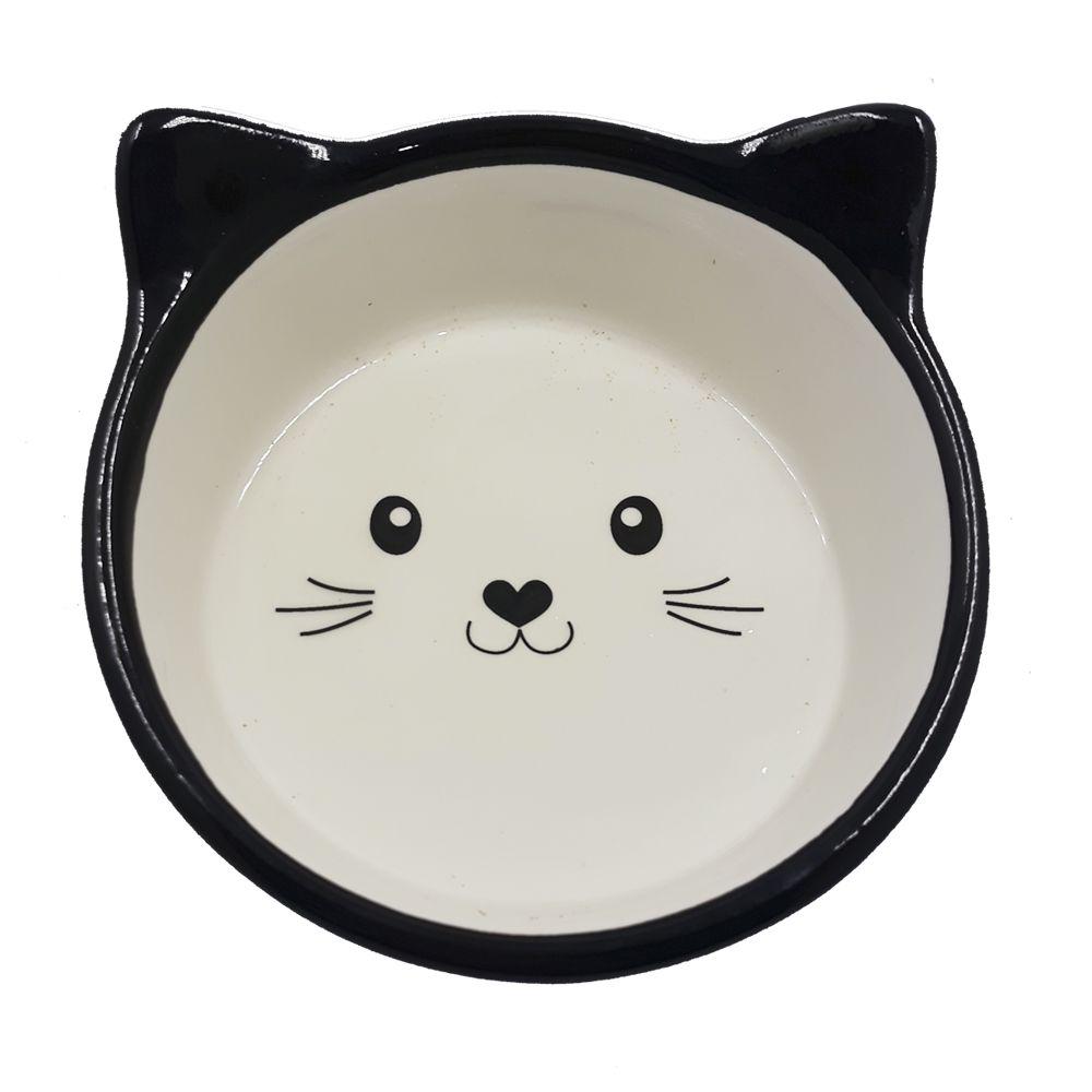 Comedouro de Porcelana para Gatos Cat Preto Poa