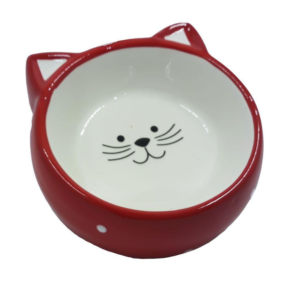 Comedouro de Porcelana para Gatos Cat Vermelho Poa
