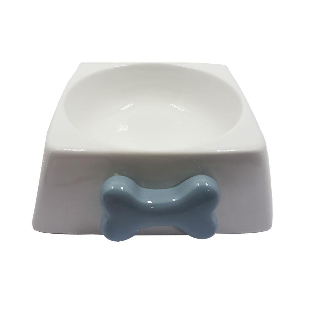 Comedouro de Porcelana para Gatos Osso Azul