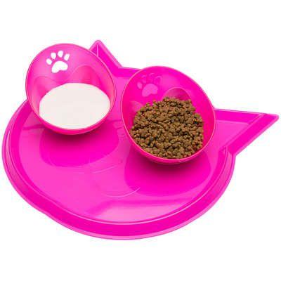 Comedouro para Gatos Duplo com Bandeja Rosa