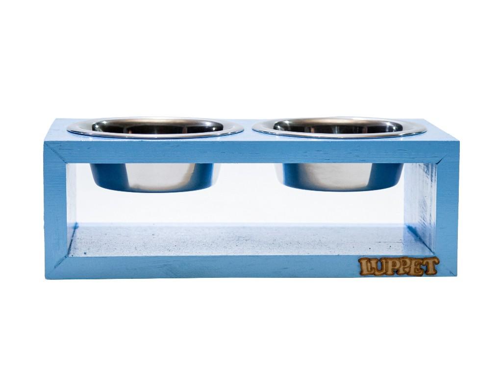 Comedouro Duplo de Madeira com Potes Inox Para Gatos e Cachorros Azul