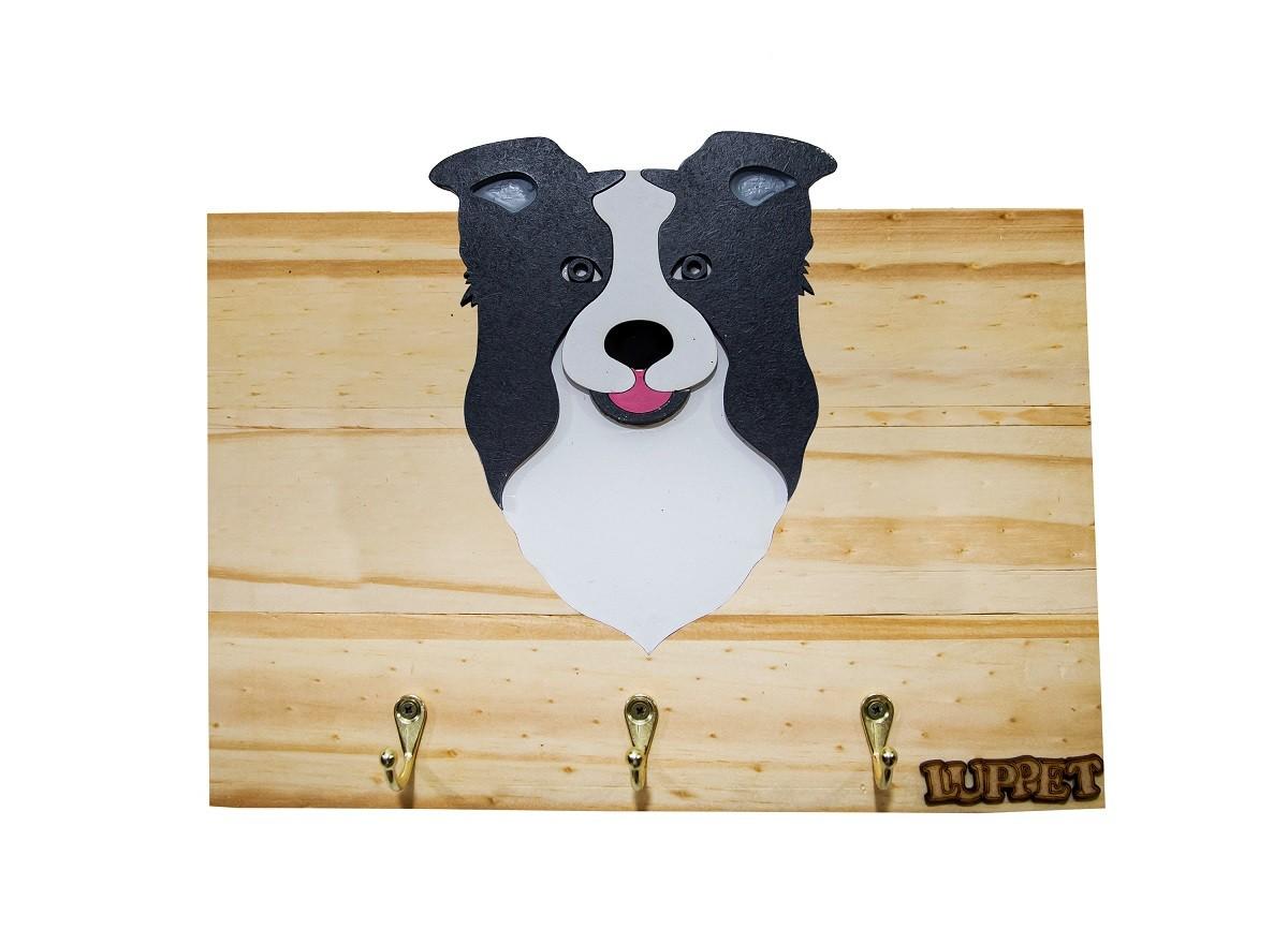 Porta Coleira e Guia Luppet Para Cachorro Border Collie