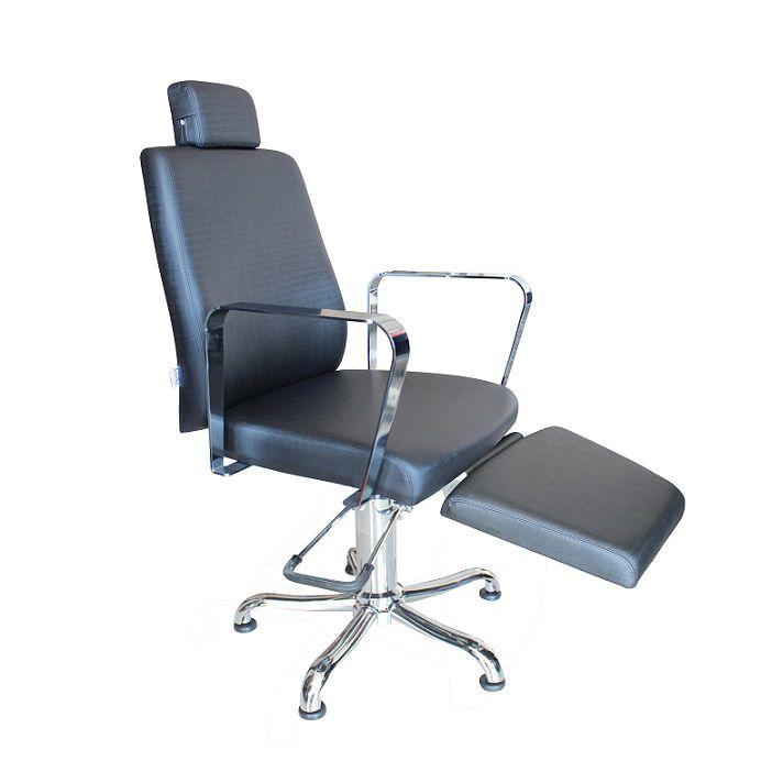 Cadeira de Cabeleireiro Encosto Reclinavel Croma com Descanso de Pernas
