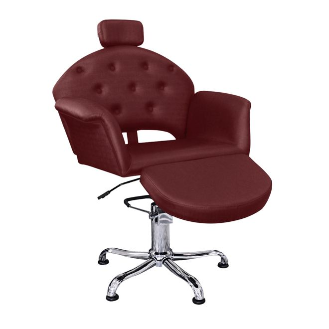 Cadeira de Cabeleireiro Velvet Encosto Reclinavel com Descanso de Pernas