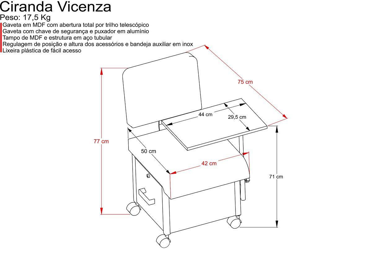 Cirandinha para Manicure Vicenza com Acessorios
