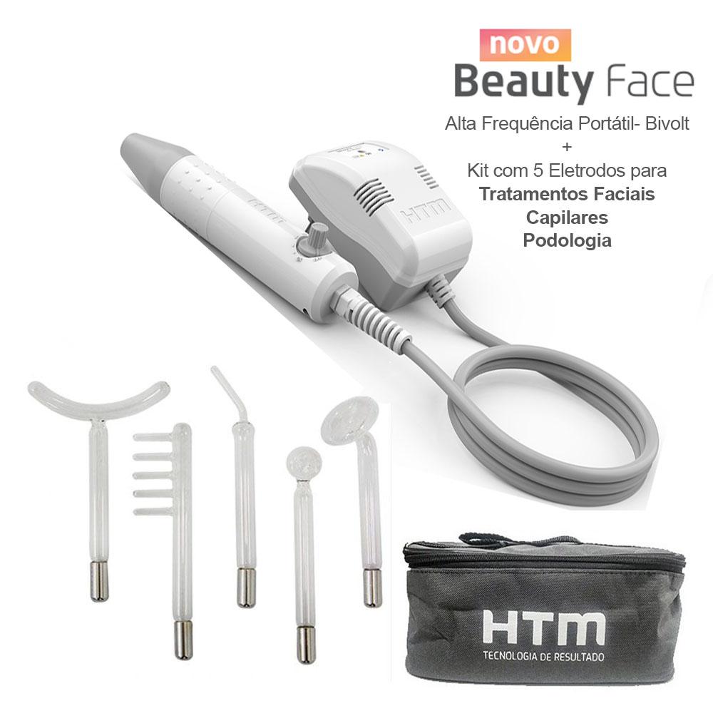 Kit Alta Frequencia HTM com Jogo de 5 Eletrodos para Tratamentos Faciais, Capilares e Podologia