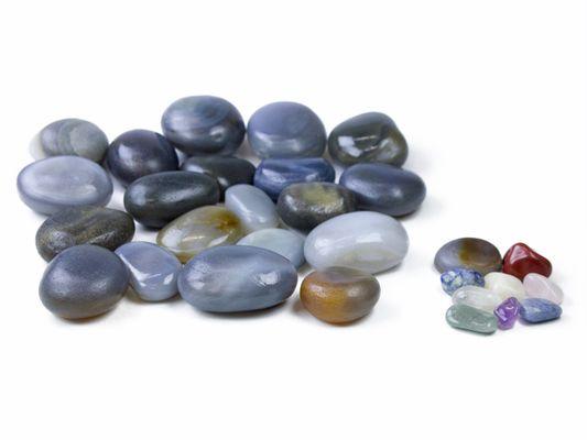 Kit com 20 Pedras Quentes Agata e 9 Cristais para Massagem