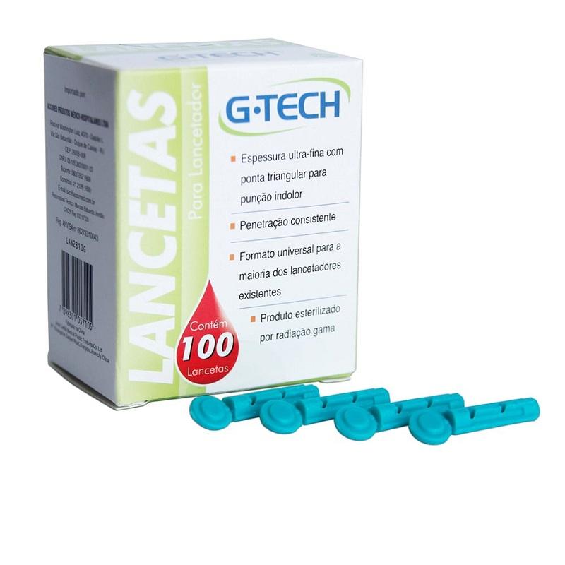 Lancetas para lancetador G-Tech Caixa com 100un