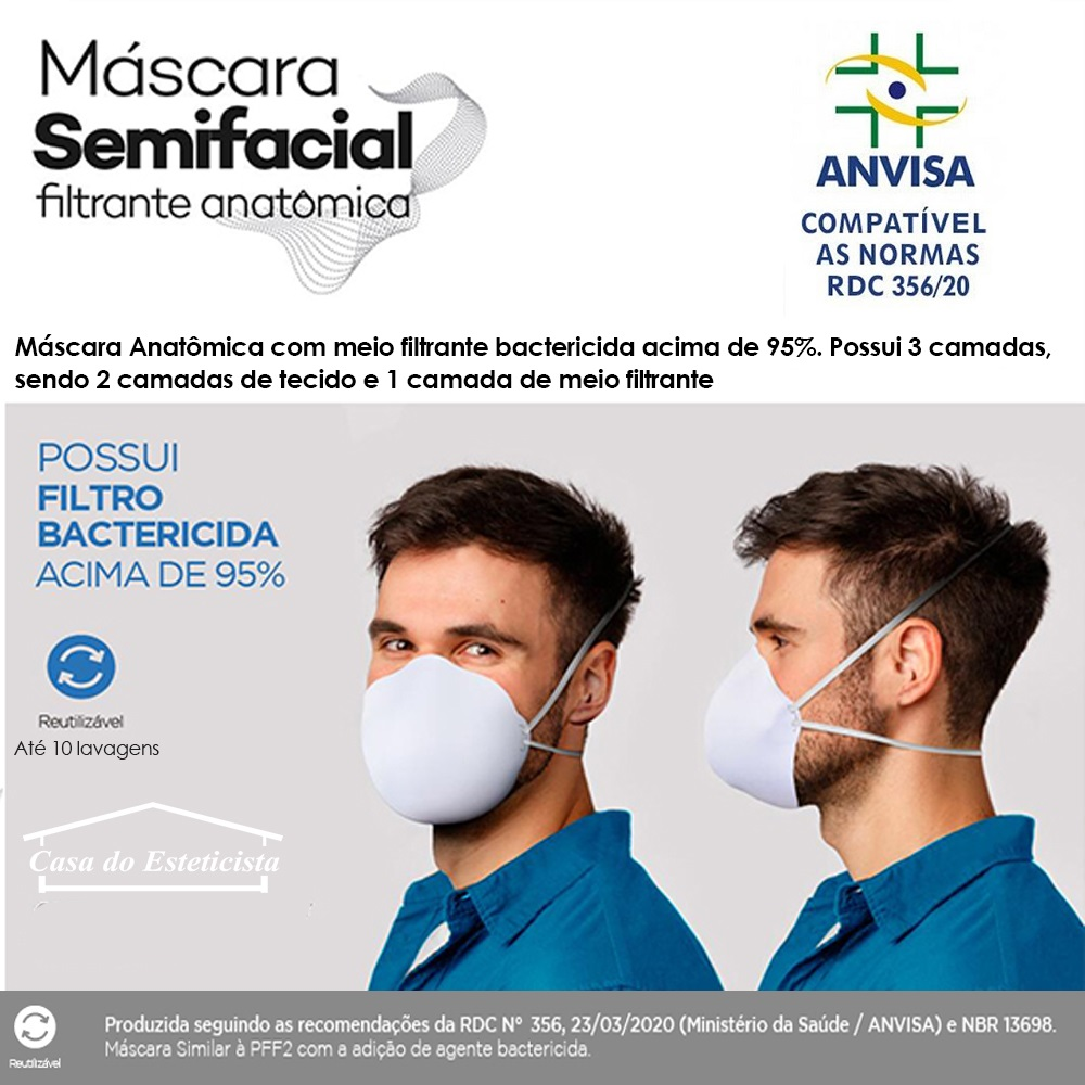 Mascara de Protecao Facial Filtrante +95% - Reutilizavel