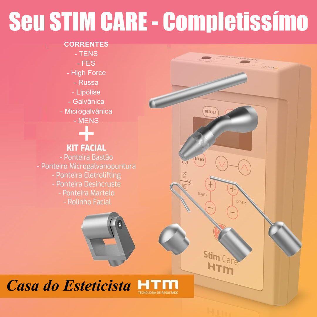 Stim Care aparelho de Correntes portatil + Kit completo Facial HTM