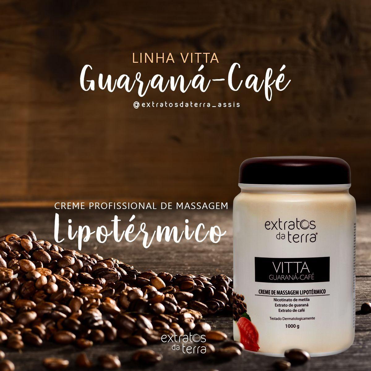 Vitta Guarana Cafe Creme de Massagem Hiperemico 1000g Extratos da Terra