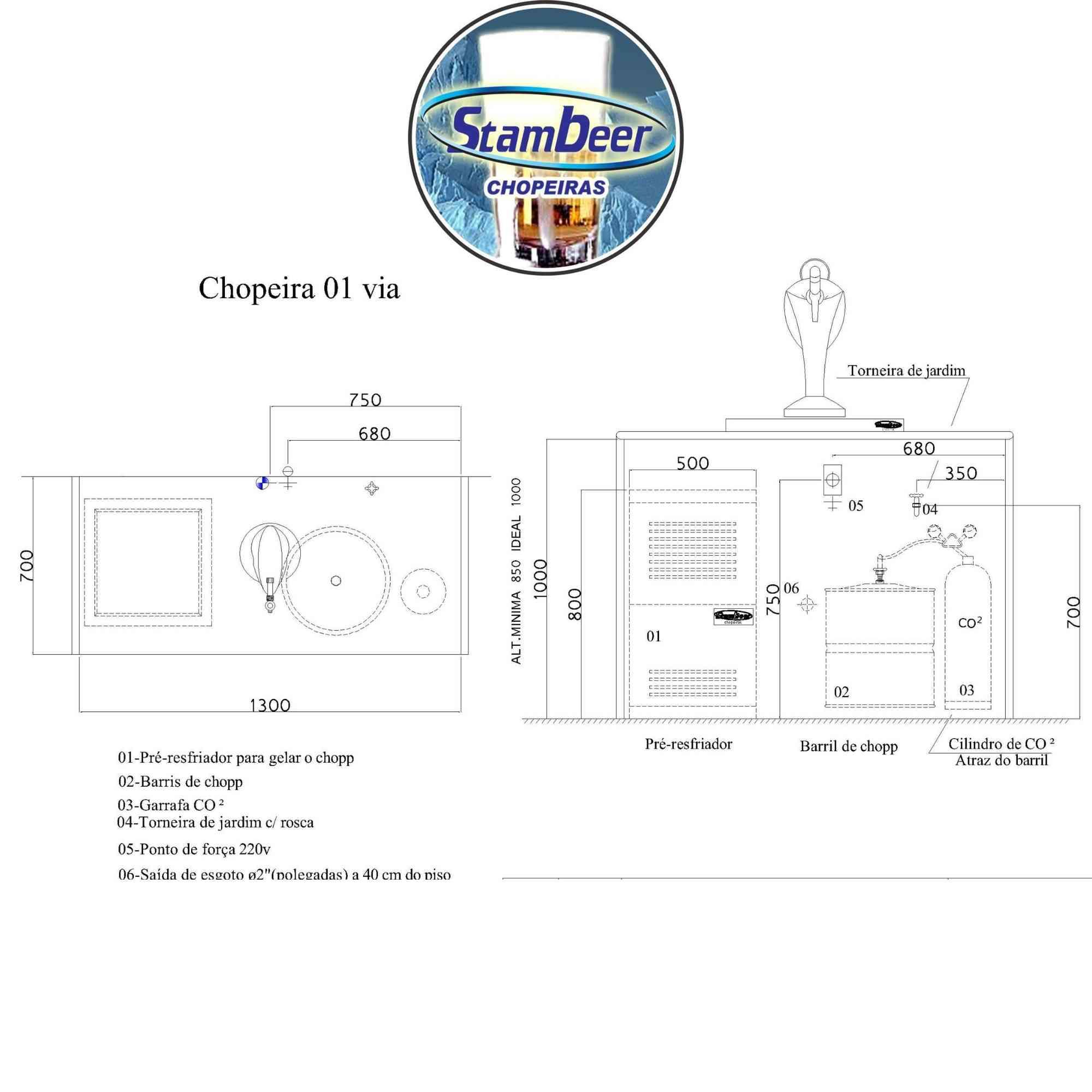 Chopeira Elétrica Torre Naja CONGELADA 1 Via Completa  - Chopeiras Stambeer