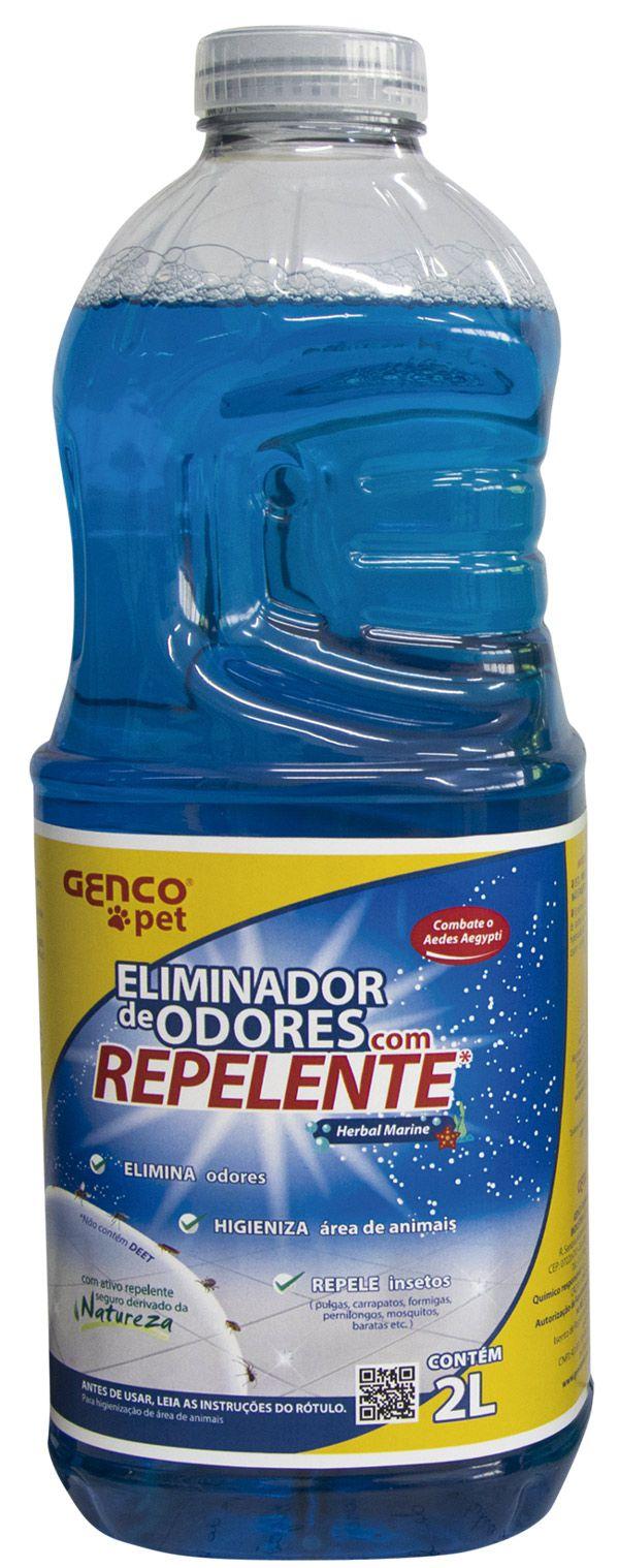 ELIMINADOR DE ODORES COM REPELENTE |Fragrância: Herbal Marine | CAIXA COM 6 UNID DE 2 LITROS