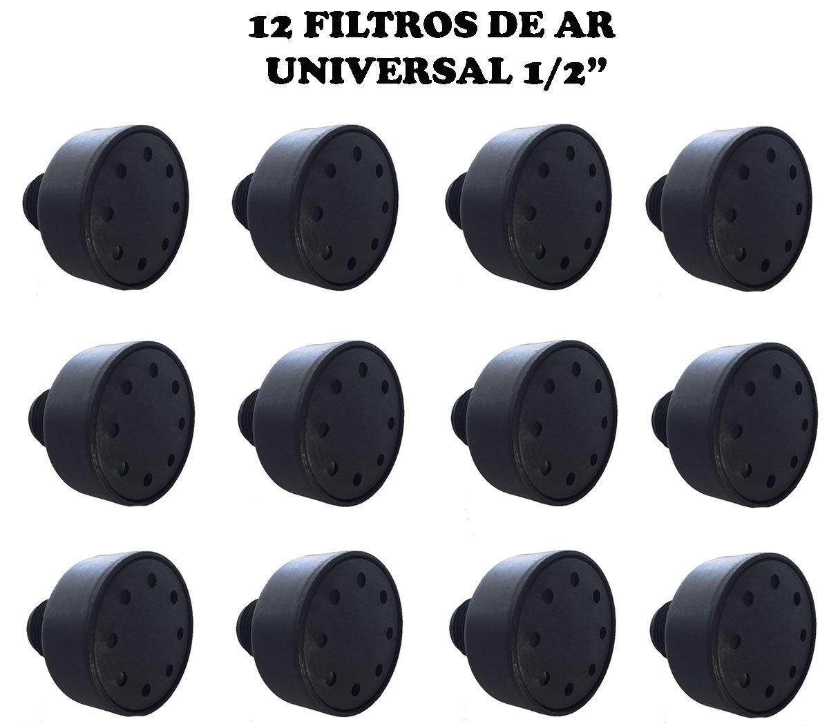 12 Filtros De Ar P/ Compressor 1/2 Npt Nylon Vários Modelos