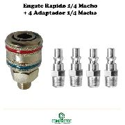 Engate Rápido Metal Rosca 1/4 Macho + Adaptador Macho 1/4
