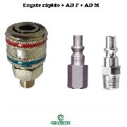 Kit Engate Rápido Macho + Ad 767 F + Ad 767 M 1/4 Adaptador