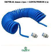 Espiral Tubo Mangueira Pneumatica 8mm 15 Metros + Conectores