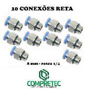 Kit Com 10 Conexão Reta Para Mangueira Tubo De 8mm - 1/4