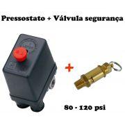 Pressostato Automático 80-120 Psi+ Válvula Segurança 125 Psi