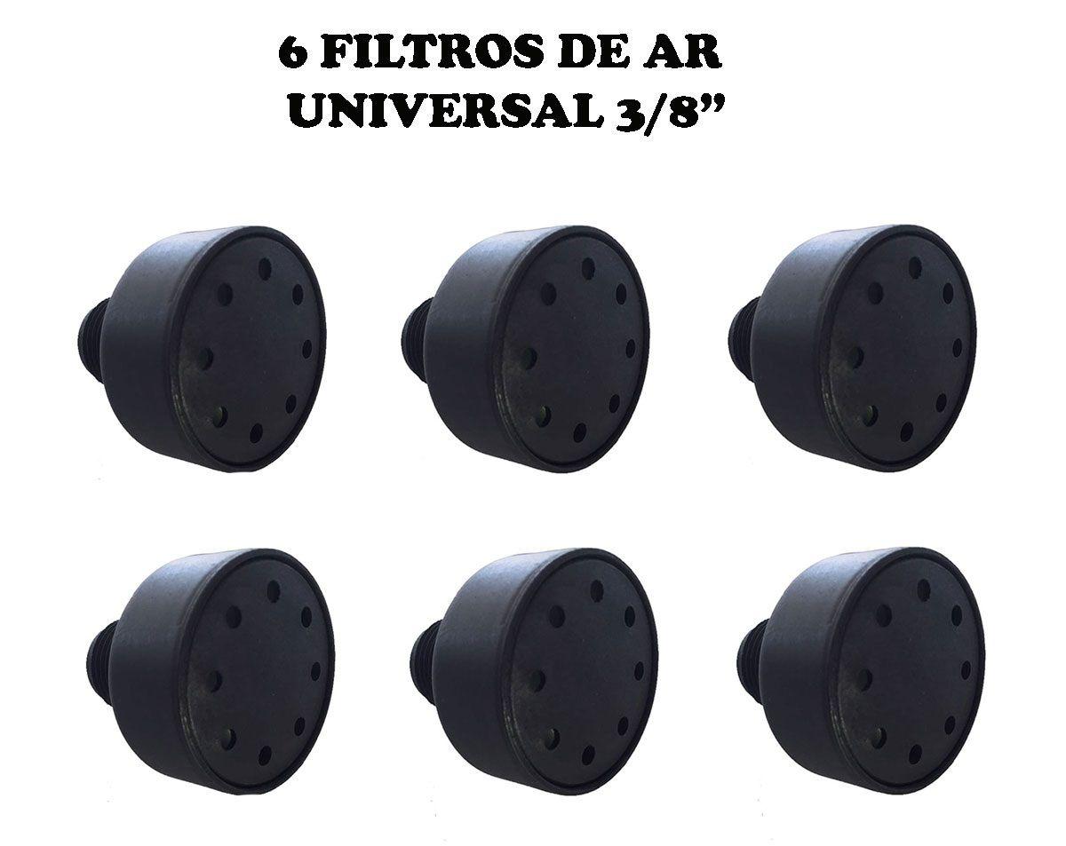 6 Filtros De Ar Para Compressor 3/8 Npt Nylon Vários Modelos