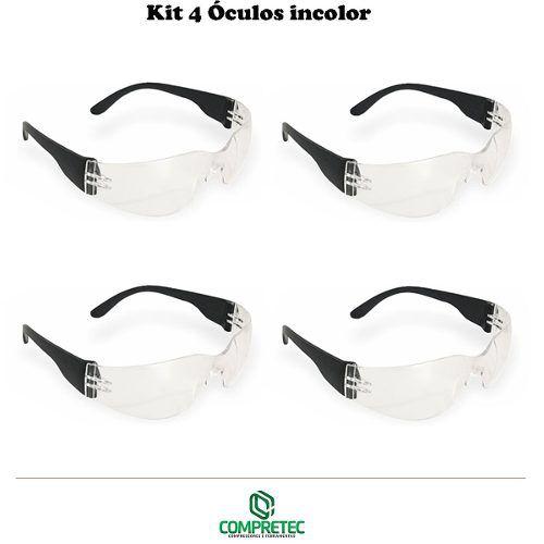 Kit 4 Óculos De Proteção Incolor Transparente Segurança Epi