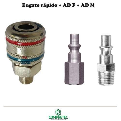 Kit Engate Rápido Macho + Ad 767 F + Ad 767 M 1/4 Adaptador
