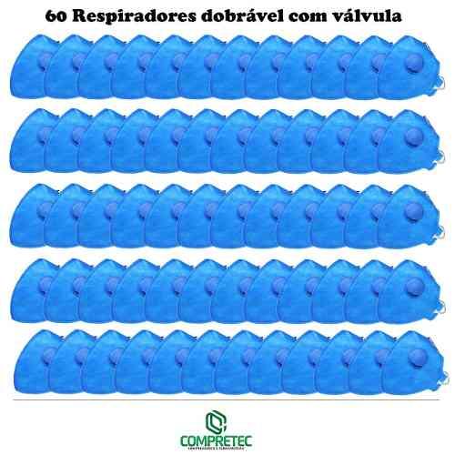 Kit 60 Máscaras Respirador Válvula Pff2 Poeiras Névoas Fumos