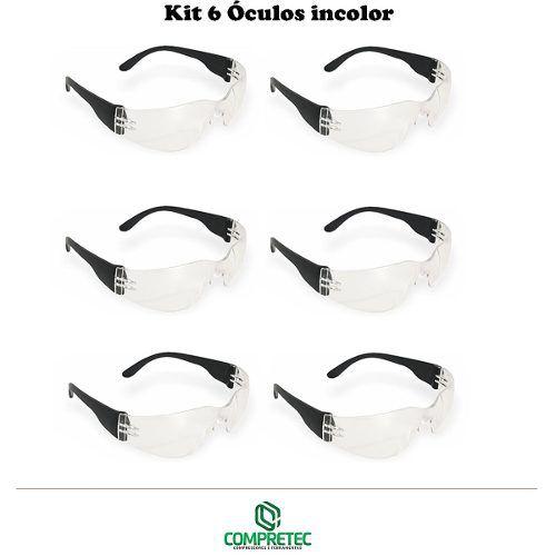 Kit 6 Óculos De Proteção Incolor Transparente Segurança Epi