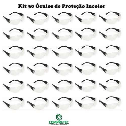 2b27e62f0d2b8 30 Óculos De Proteção Incolor Transparente Libus Segurança Compretec ...