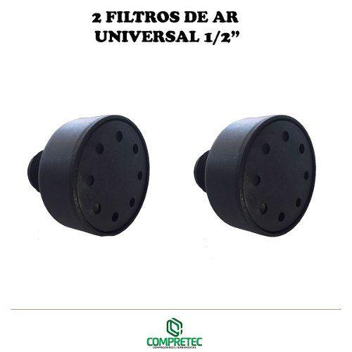 2 Filtros De Ar Para Compressor 1/2 Npt Nylon Vários Modelos