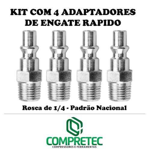 Kit Com 4 Peças De Engate Rápido Padrão Nacional - Rosca 1/4