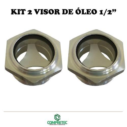 Kit 2 Visor Nível De Óleo Compressor Rosca 1/2 Bsp Alumínio