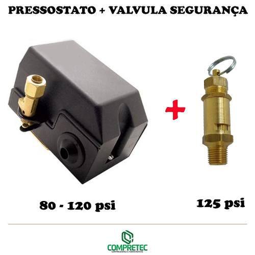 Pressostato Automático + Válvula De Segurança 80 - 120 Psi