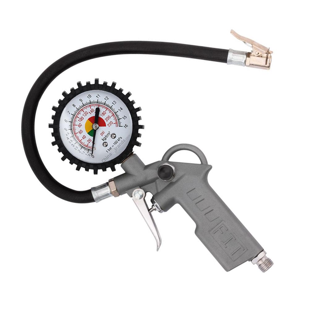 Calibrador encher pneu tipo pistola com manômetro e rosca nacional