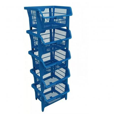 Cesto Plástico Separador Expositor Presto Preto e Azul