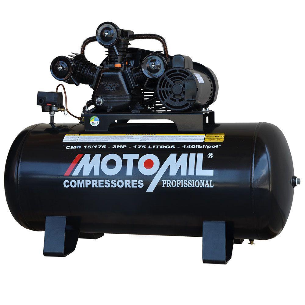 Compressor De Ar 15 Pés (pcm) CMW15/175l 3hp Mono Motomil
