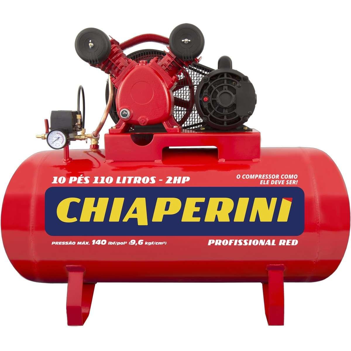 Compressor De Ar Chiaperini 10 Pés 110 Litros Red 140 Lbf Monofásico