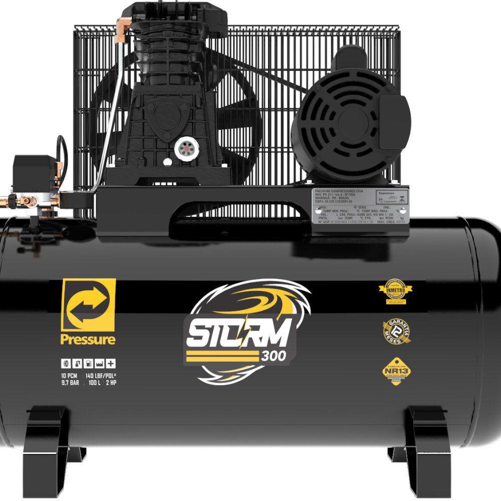 Compressor de ar Pressure 10 pés 100 litros Storm 300 monofásico