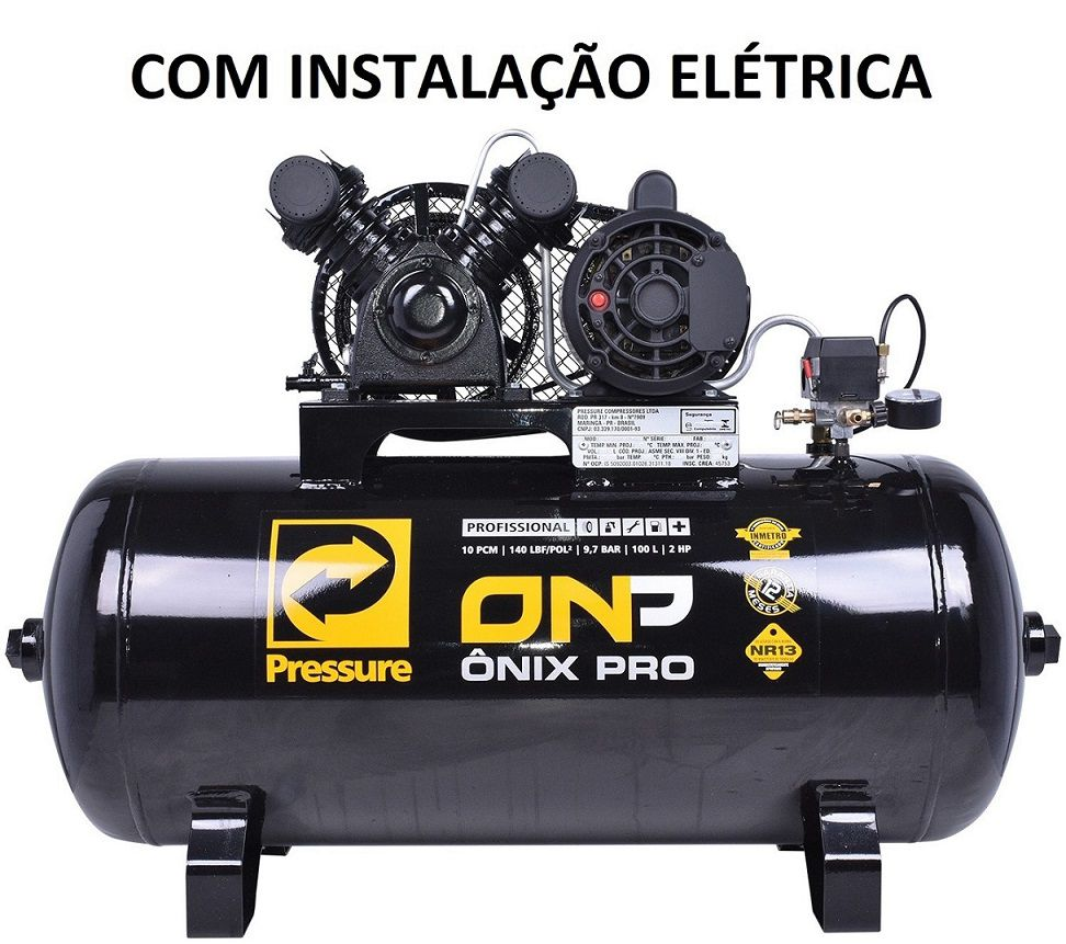 Compressor De Ar Pressure 10 Pés (pcm) 100l - Com Instalação