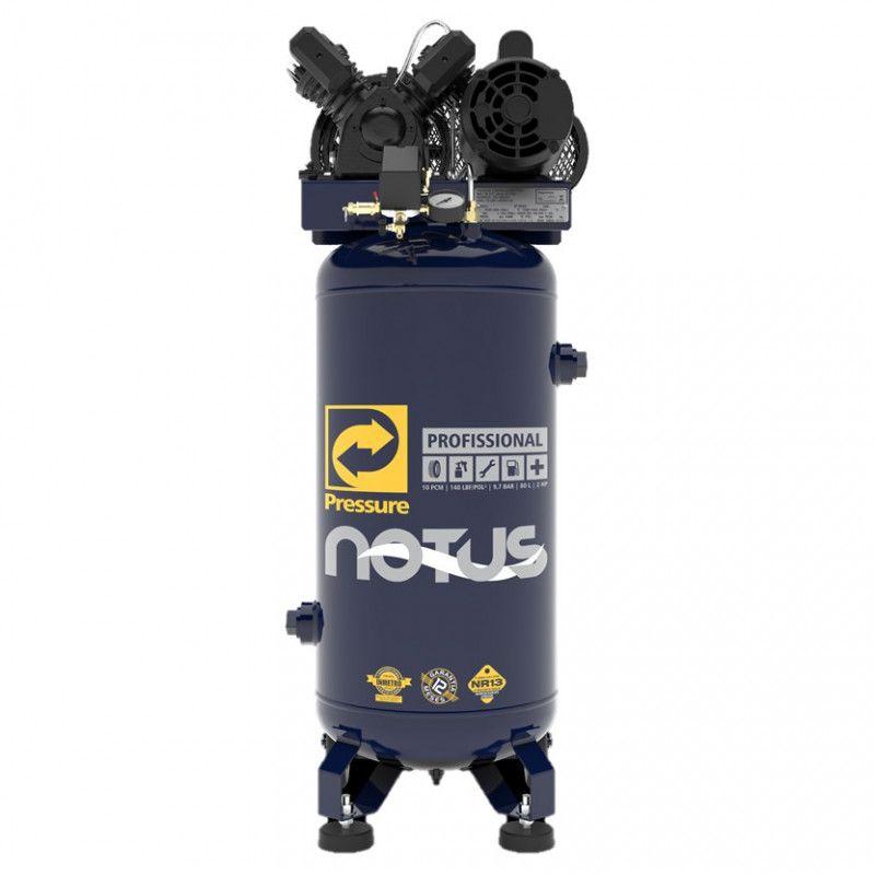 Compressor de Ar Vertical com rodas Notus 10 Pés 80 L 2HP Monofásico Pressure