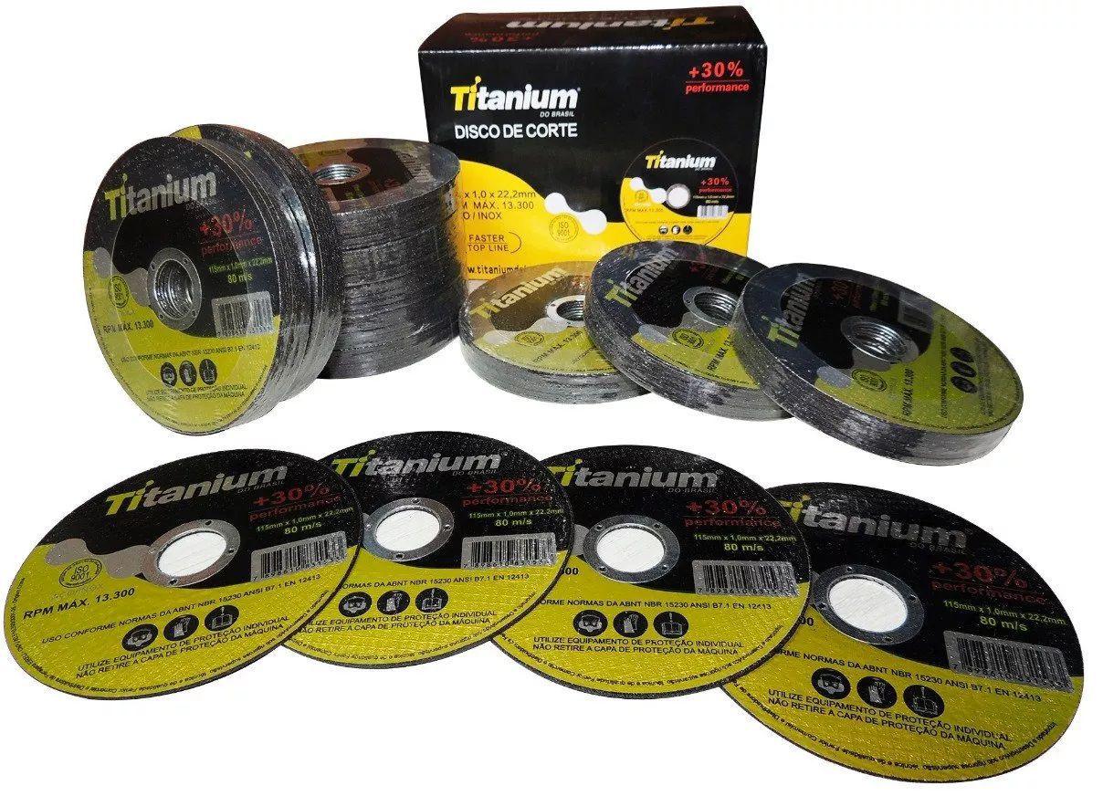 Disco de corte Titanium 1x115x22,2mm Aço Inox 10pçs
