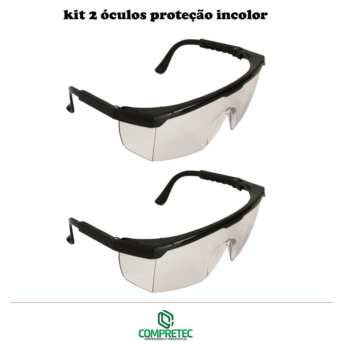 Kit 2 Óculos De Proteção Incolor Transparente Segurança Epi