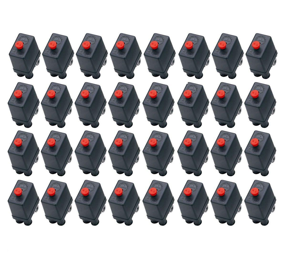 Kit 32 Pressostato Compressor Automático Botão 80-120 4 Vias