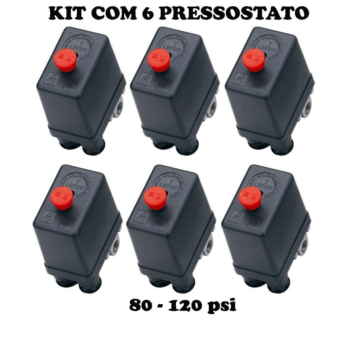 Kit 6 Pressostato Compressor Automático Botão 80-120 4 Vias
