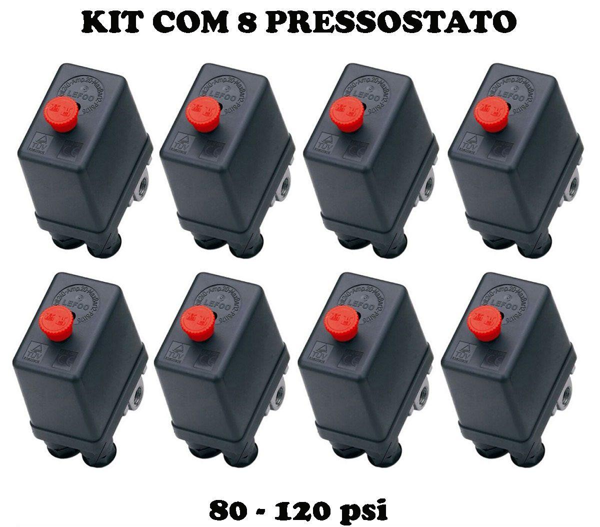 Kit 8 Pressostato Compressor Automático Botão 80-120 4 Vias